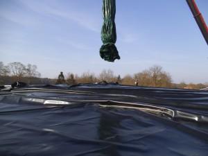 Gasdach aufbau Biogasanalage