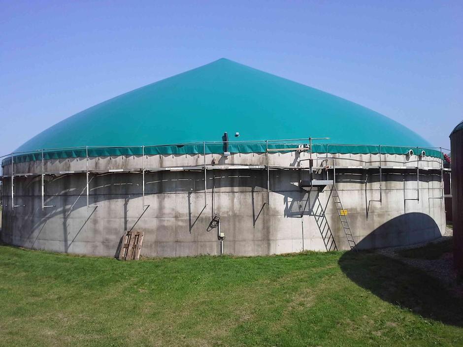 Gasdach Kegelkonstruktion mit Gasspeicherfolie für Biogasanlagen